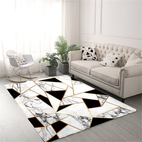 Geometric Carpets For Living Room Black And White Center Rug Etsy In 2021 Living Room Carpet Geometric Carpet Black And White Living Room