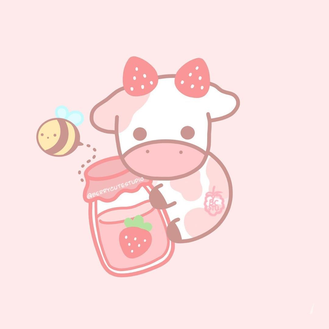 Janie S Instagram Photo Strawberry Cow I Wanted To Draw Something Cute So I Designed A New Sticker When I In 2020 Cute Animal Drawings Kawaii Cow Art New Sticker