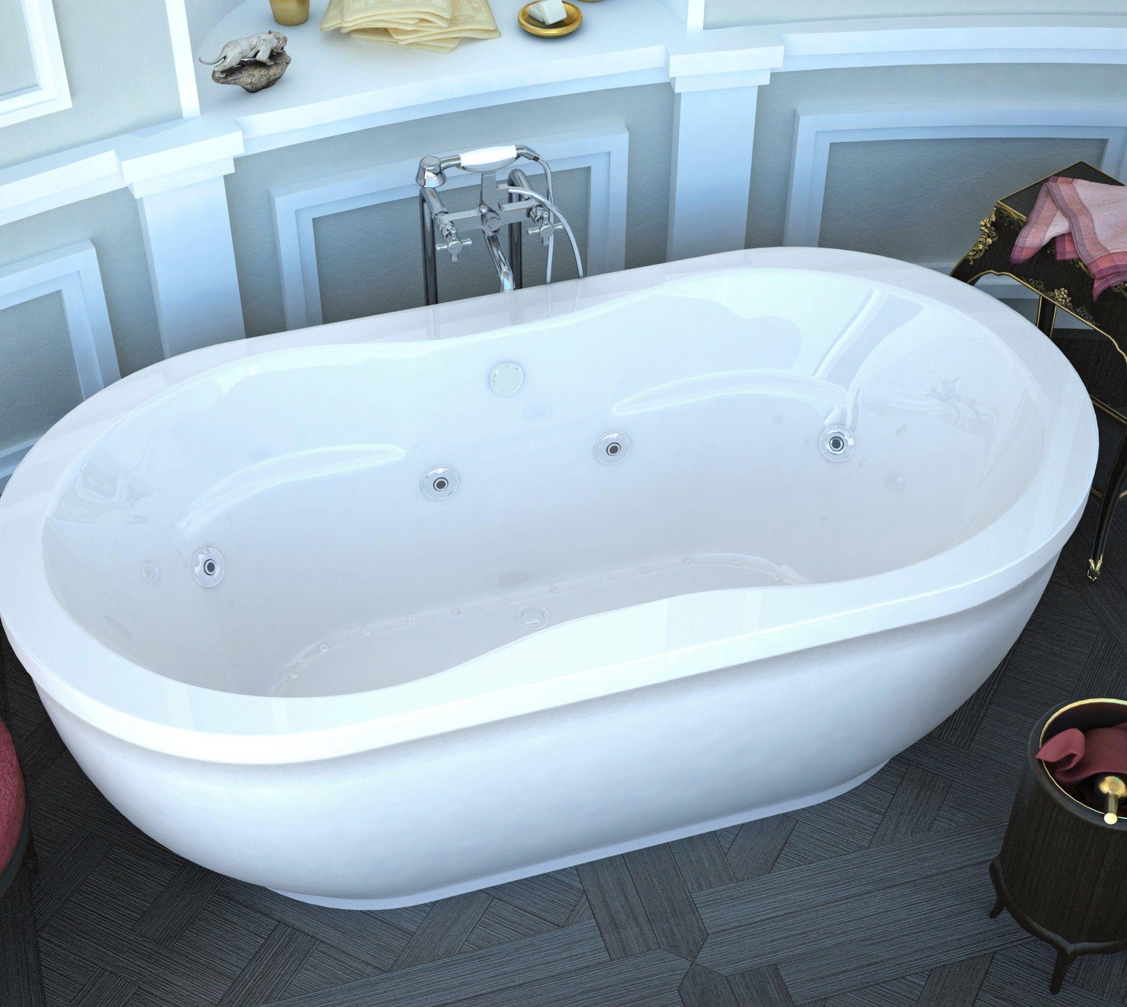 Freestanding air whirlpool jetted bathtub white