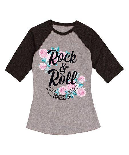 Athletic Heather & Black 'Rock & Roll Endless Soul' Raglan Tee