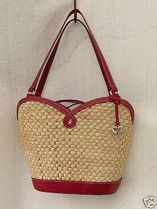 Brighton Marilyn Handbag Straw Red Leather Bandana Lined Purse Or Pocketbook S