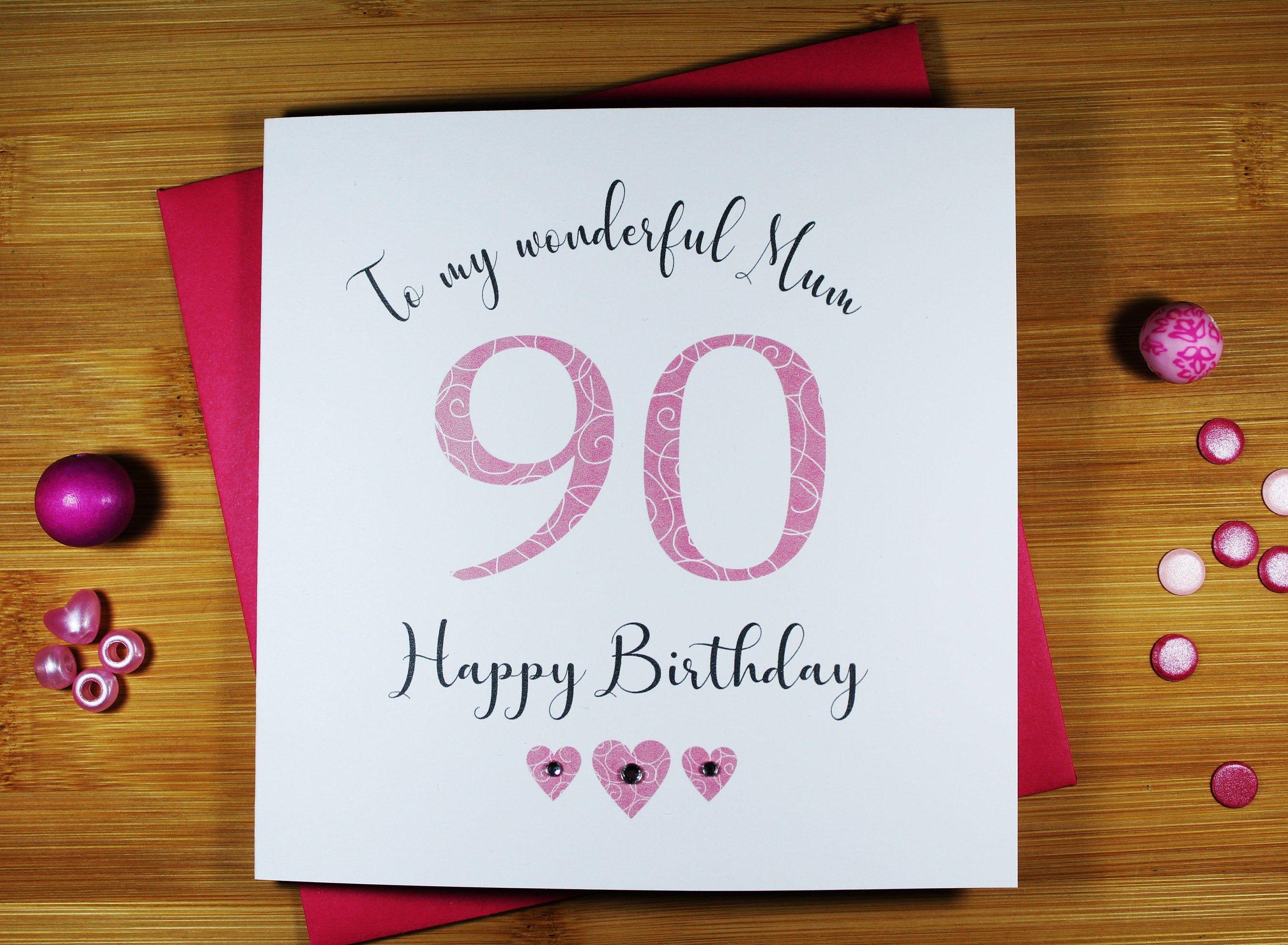 90th Birthday Card Mum Gran Nan Sister Wife Cousin Friend Etsy 90th Birthday Cards Birthday Cards Happy Birthday Cards