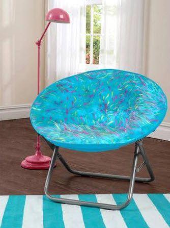 Merveilleux Your Zone Spiker Faux Fur Saucer Chair, Multiple Colors, Blue