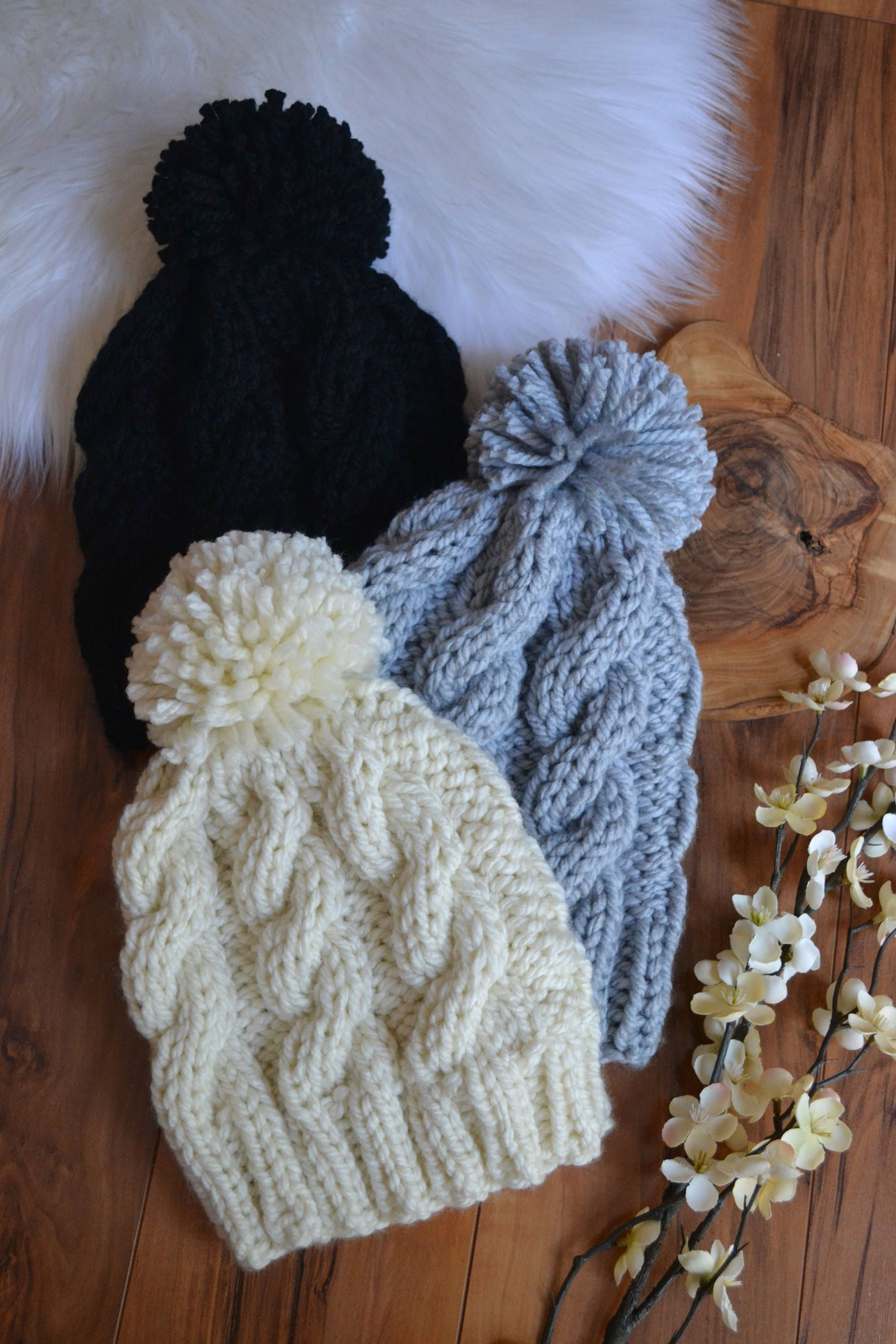 063a15ef9 DIY KNITTING PATTERN The Ultimate Cable Knit Women's Pom Pom Beanie ...