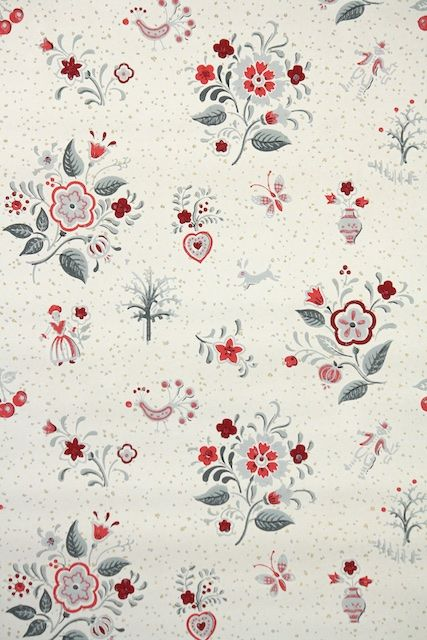 A folksy 1940s kitchen wallpaper with cute red and gray flowers