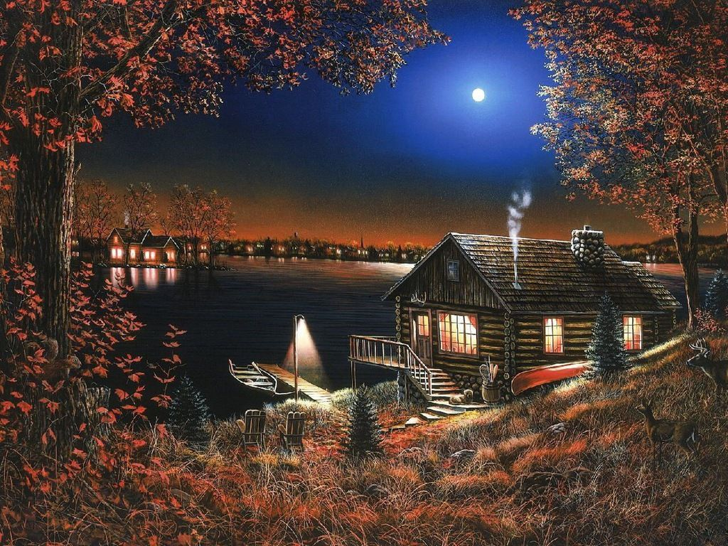 Free canoe, pier, cabin, lake, moon, night Wallpaper - Download ...