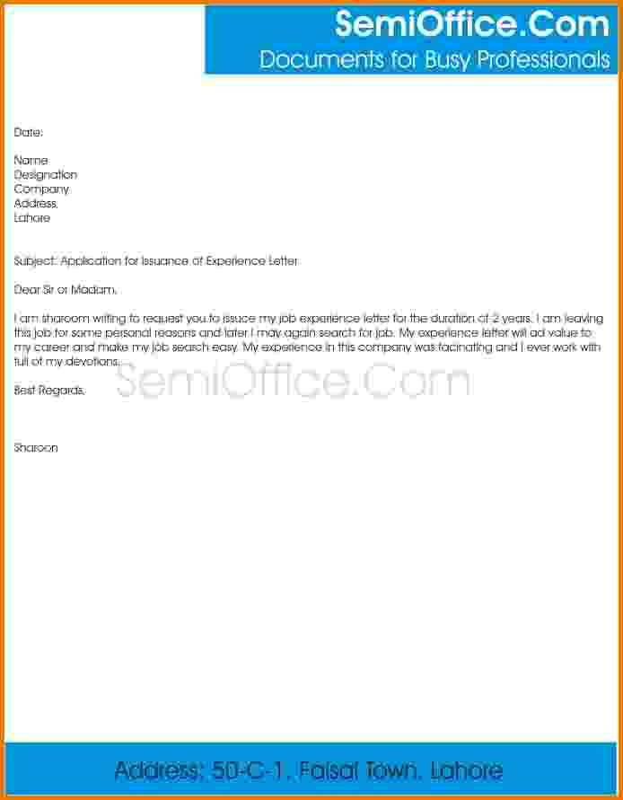 Letter Sample Application For Issuance Experience Letterg