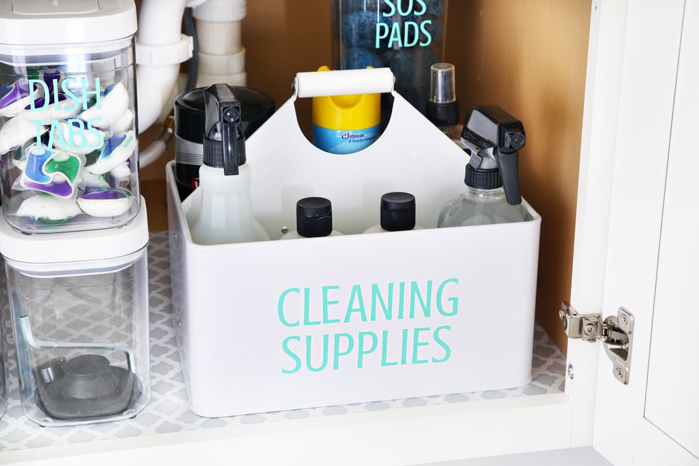 How to Organize Under the Kitchen Sink Organizing cleaning