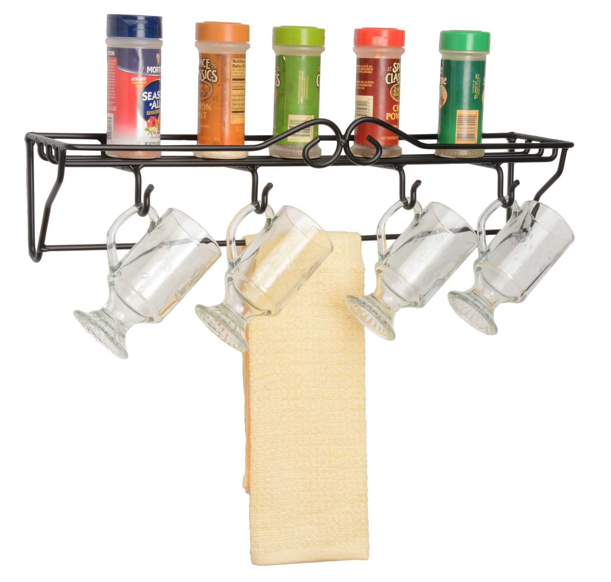 4 MUG SINGLE SHELF RACK - Wrought Iron Wall Mount Organizer | Iron ...