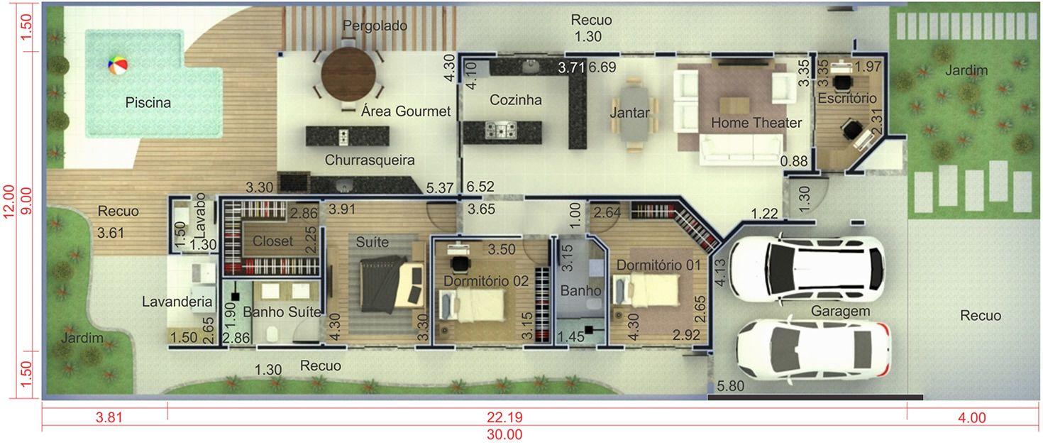 Planta De Casa T Rrea Com Rea Gourmet Planta Para Terreno 12×30