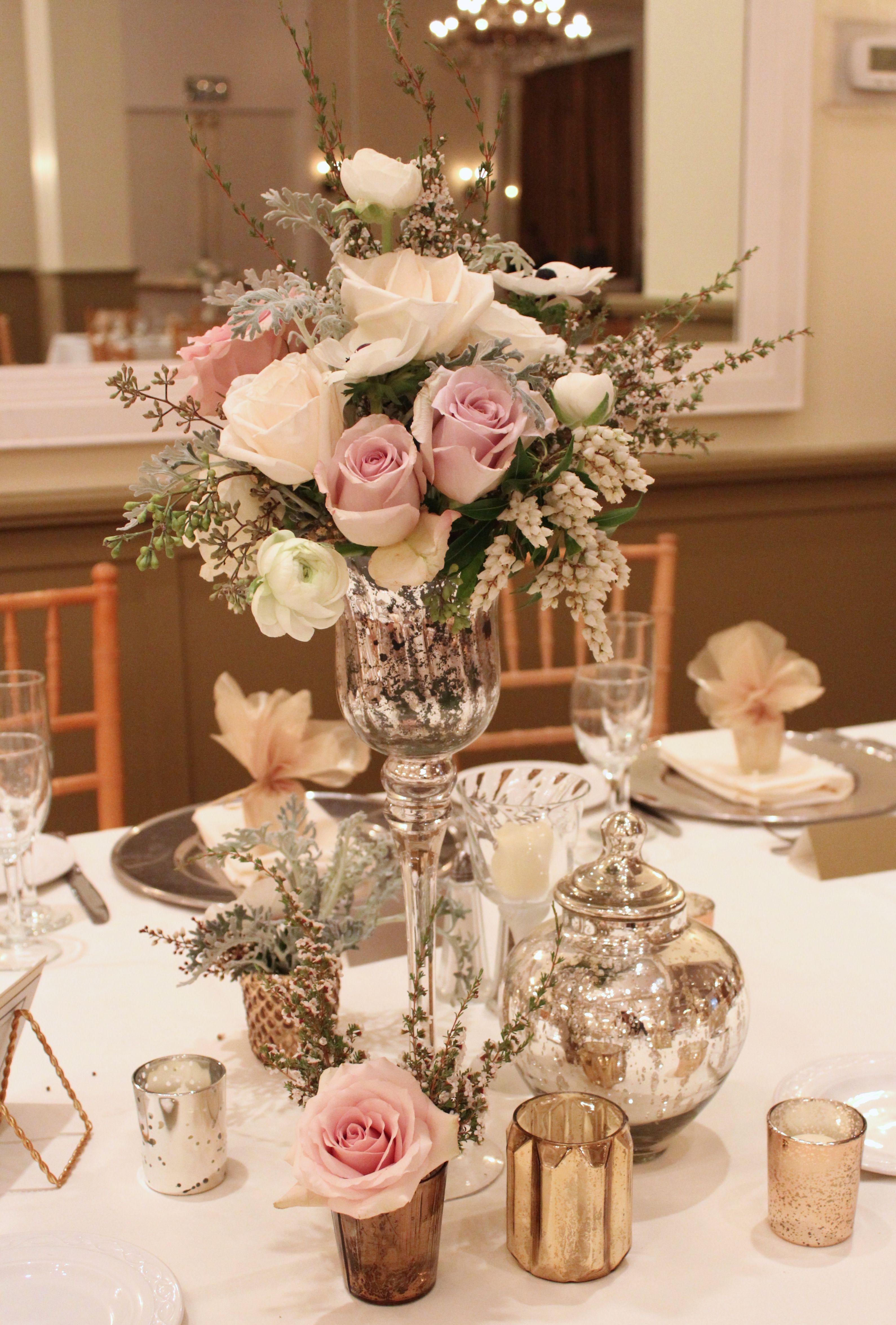 Vintage Style Flowers Mercury Gl Elegant Wedding Centerpiece