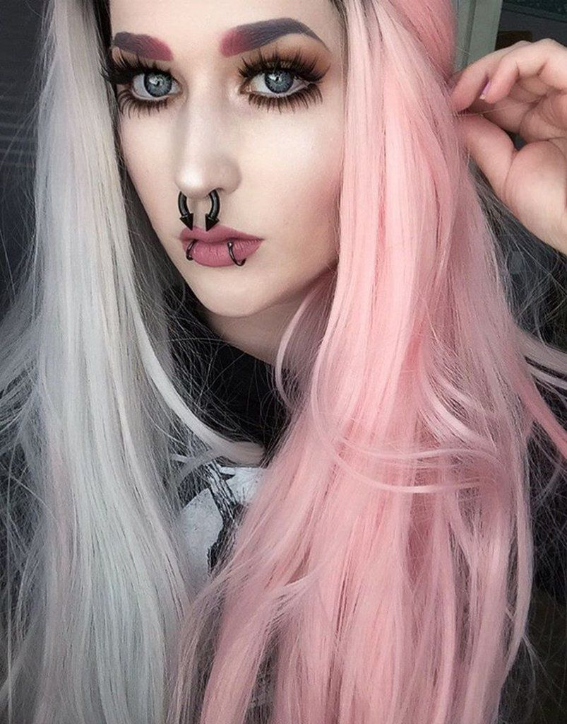 Double Color Pink Grey Synthetic Lace Front Wig – FashionLoveHunter