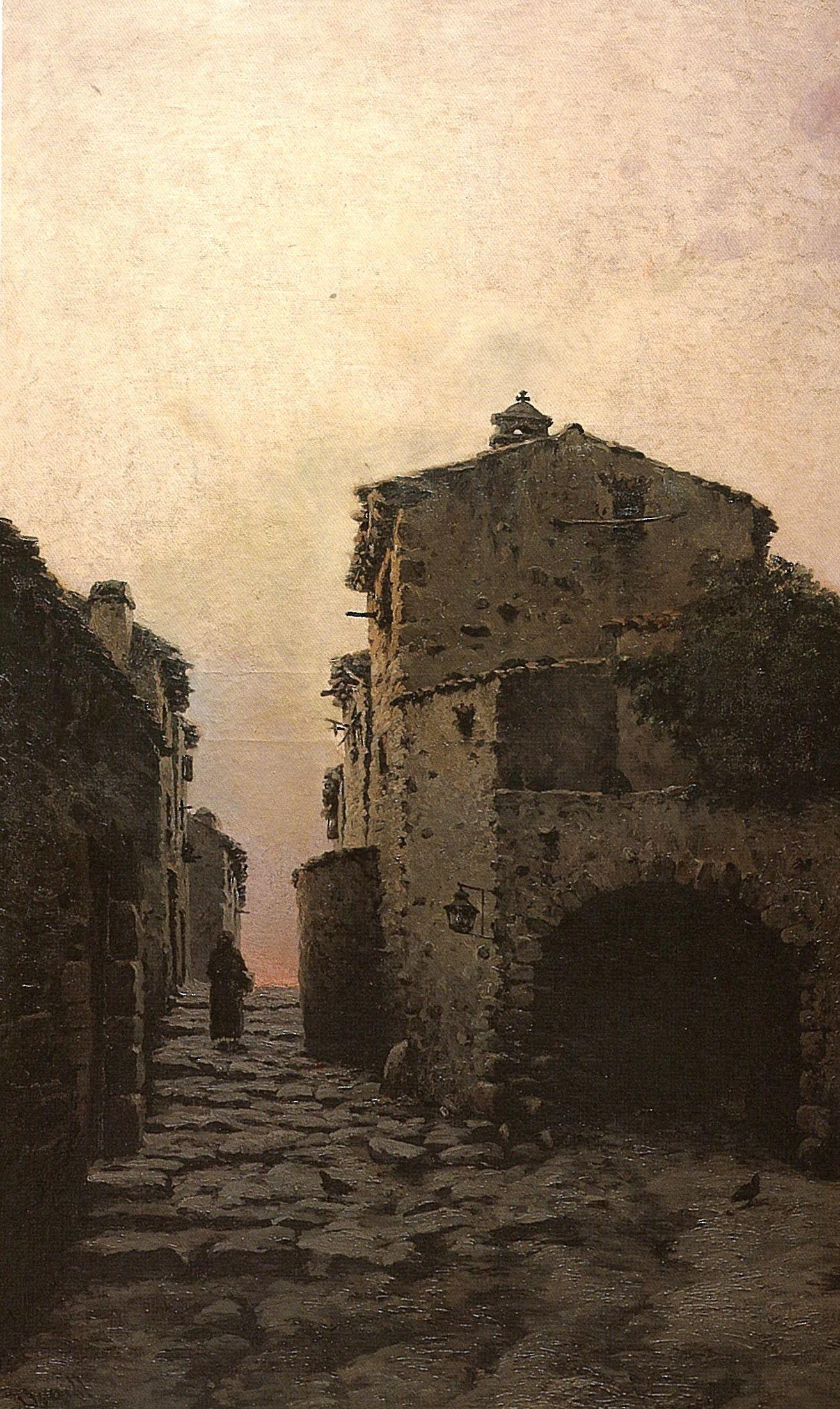 Calle de pueblo', pintado por Modest Urgell en 1886. #Pueblos #Atardecer #España #Tranquilidad