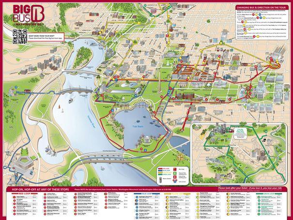 area map showing open top service washington dc pinterest