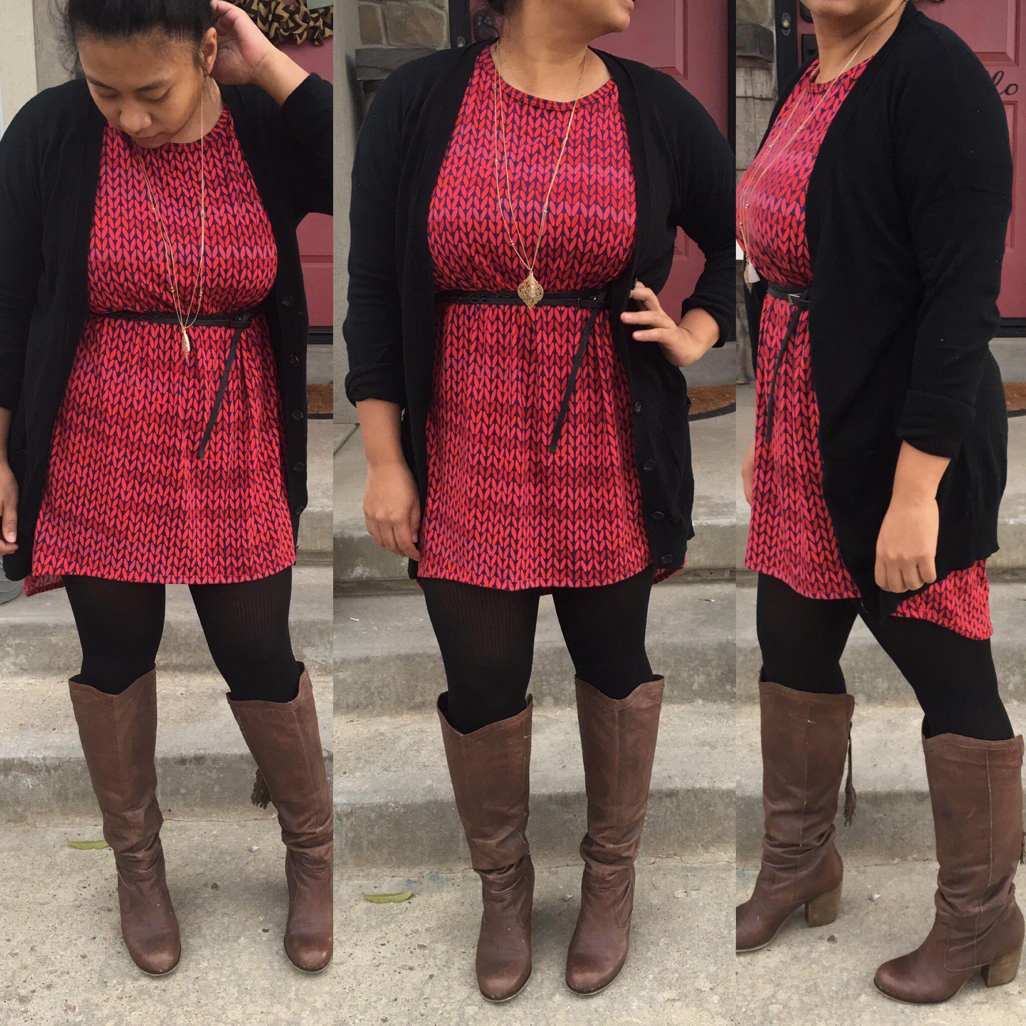 4089c959a56b93 XL LuLaroe Irma as a dress, LuLaroe irma, how to wear an Irma as a dress,  LuLaroe outfits, fall LuLaroe, fall outfits, fall style Cardigan: Mossimo  Dress: ...
