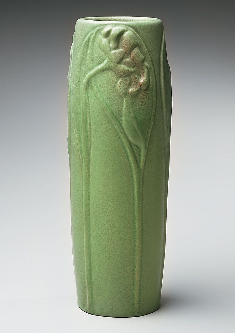 Van Briggle Pottery Artus Van Briggle Vase With Apple Green Glaze And Floral Relief White