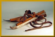 These very old skates, which strapped onto regular boots, may have been used to skate to school in the winter if river ice conditions were good.
