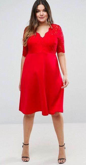 Compra Vestido skater midi con falda de neopreno y parte superior de encaje  de ASOS CURVE en ASOS. Descubre la moda online. b950ea92346a