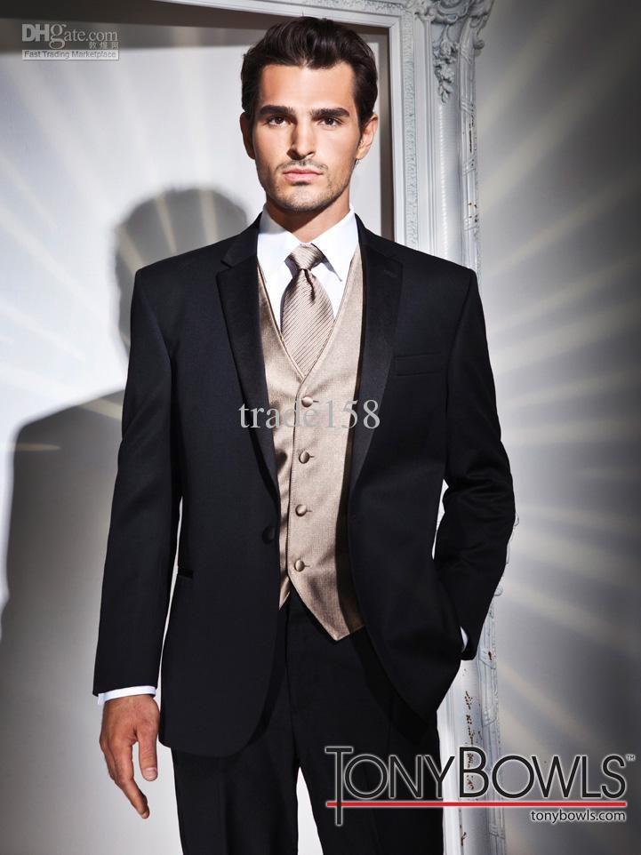 Wholesale Suits Tuxedo - Buy Custom Made Black Groom Tuxedos ...