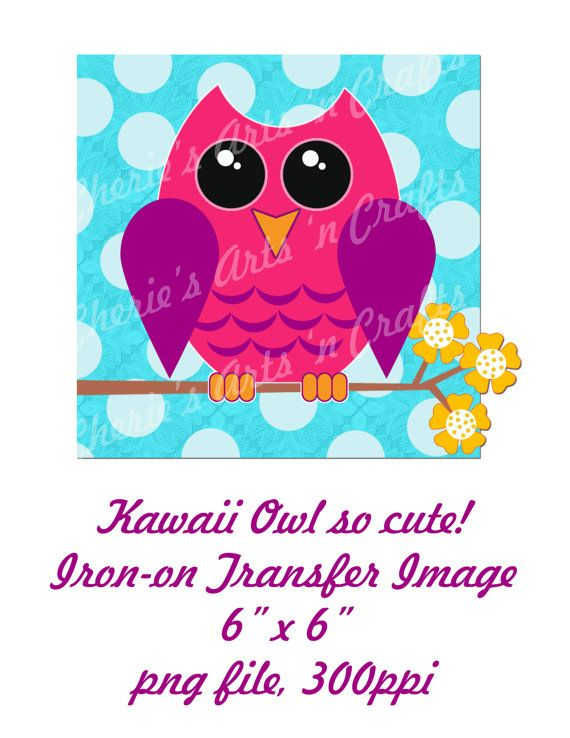 Instant Download, Owl Iron On Transfer Pattern, Whimsical Art, Owl Graphics, Owl Clip Art CU and PU