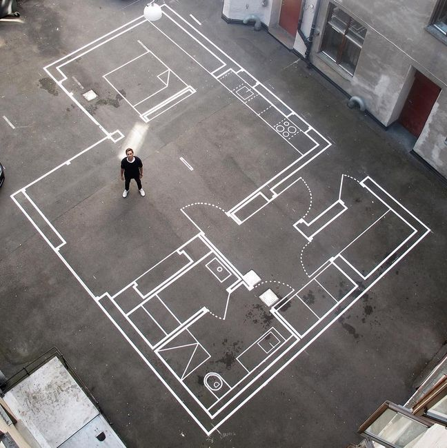 Drawn Up Architecture Firm Uses Tape for Full-Scale Floor Plans - Dessiner Plan De Maison