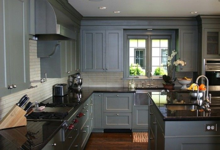 Best A Beautiful Medium Sized Kitchen With Blue Stained 640 x 480