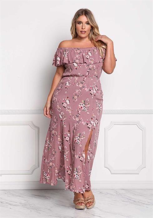 Plus Size Crepe Off Shoulder Floral Slit Maxi Dress   Gordibuenas ...
