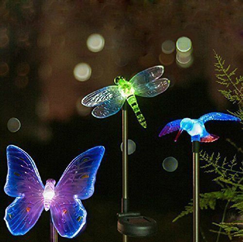 Genial Esky Solar Powered Hummingbird, Butterfly U0026 Dragonfly Garden Stake Light  With Color Changing LEDs,