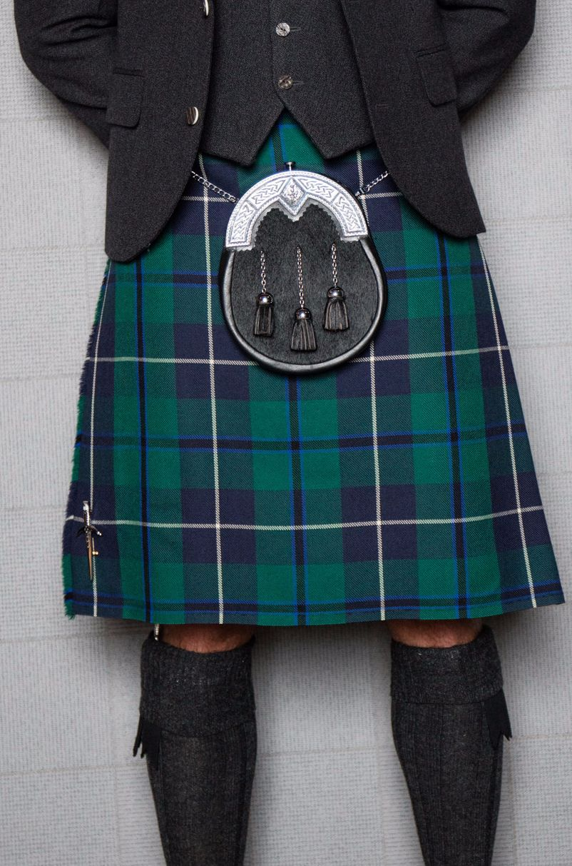 45e3e92c87e9 The blues and greens in the Modern Douglas tartan kilt really stand out  when teamed with a grey tweed jacket and dark accessories.