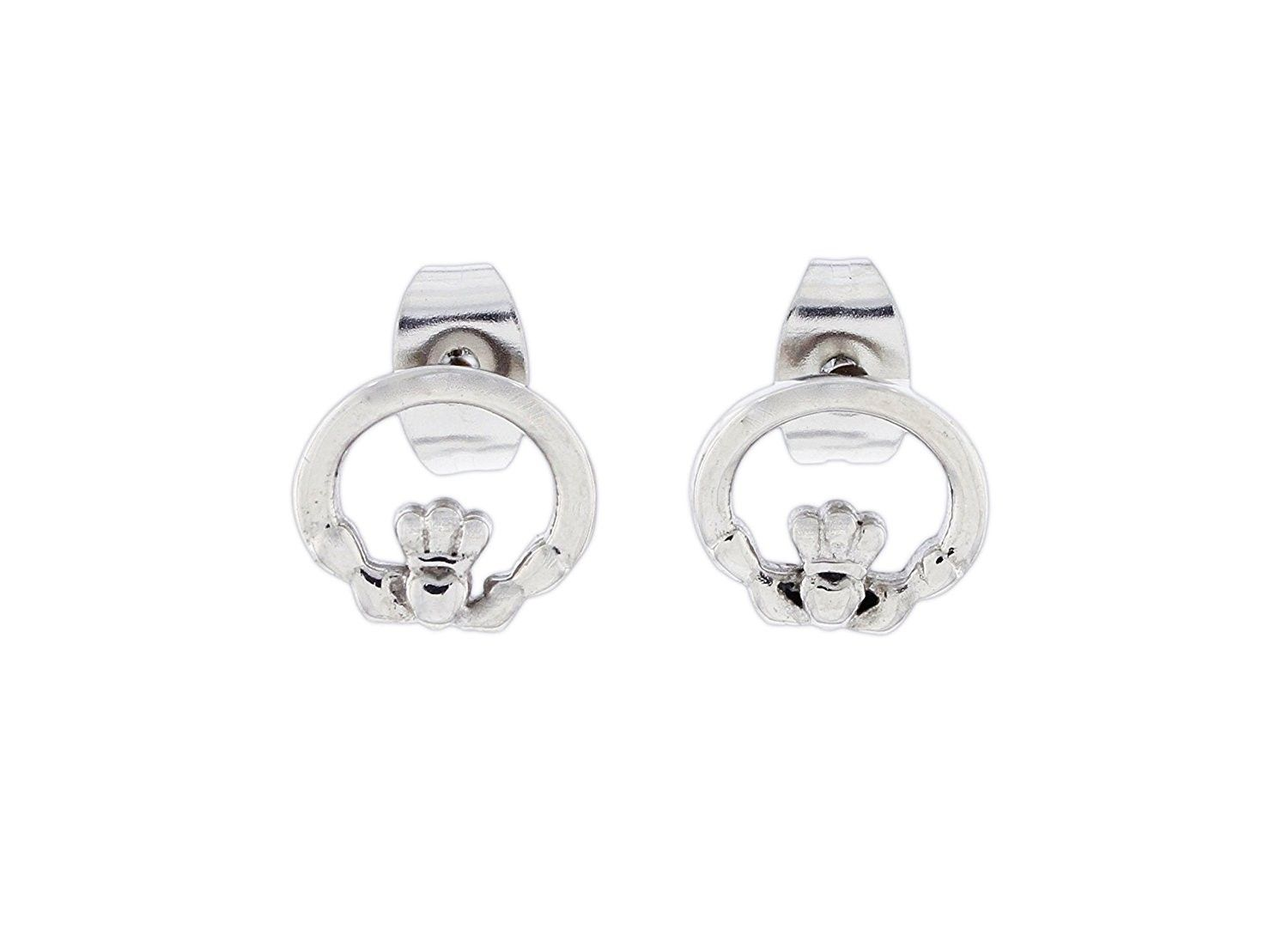 33b6fed3f47c3d Stainless Steel Claddagh Post Earrings - CJ1803EGSZQ - Earrings, Stud # Earrings #Studearring #
