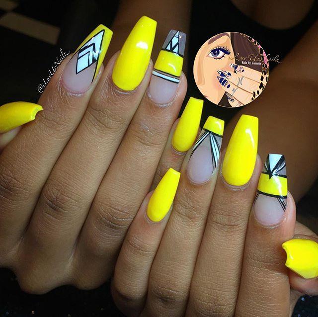 Yellow, black, white, negative space hand drawn nail art
