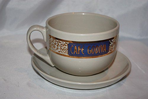 Cream Blue and Gold Cafe Godiva Large Coffee Cup and Saucer Set 2004 ...