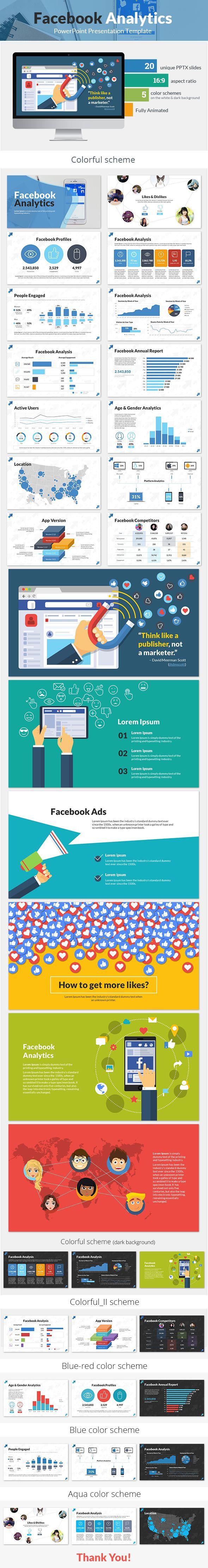 facebook analytics powerpoint #presentation template - business, Facebook Powerpoint Presentation Template, Presentation templates