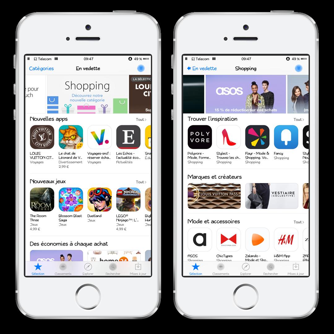 Une nouvelle catégorie shopping sur l'App Store mobile