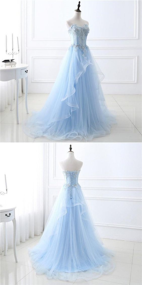 A-Line Sweetheart Tulle Blue Appliqued Prom Dresses With Beading #eveningdresses