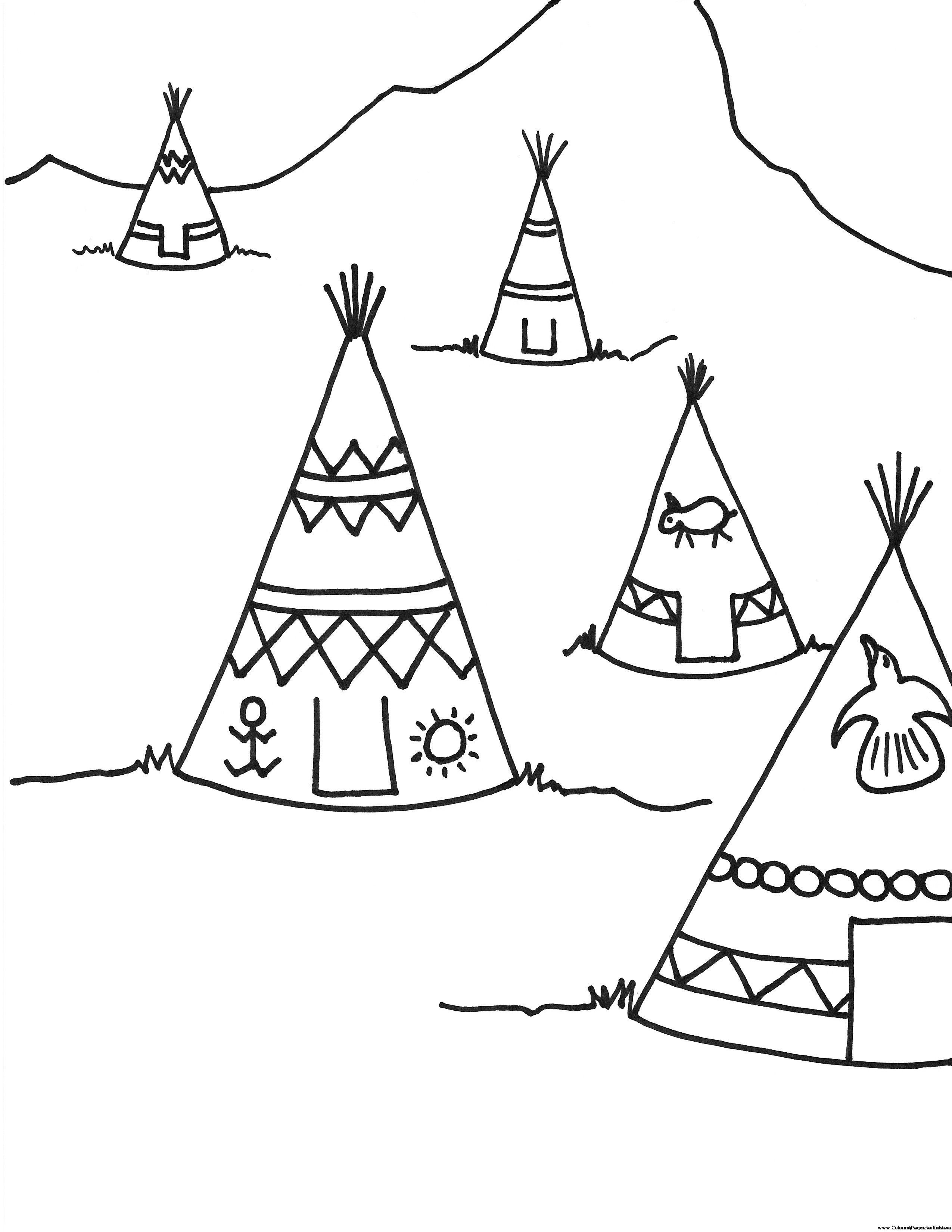 Printable Teepee Coloring Page For Kids Thanksgiving Coloring Pages Coloring Pages Coloring Pages For Kids