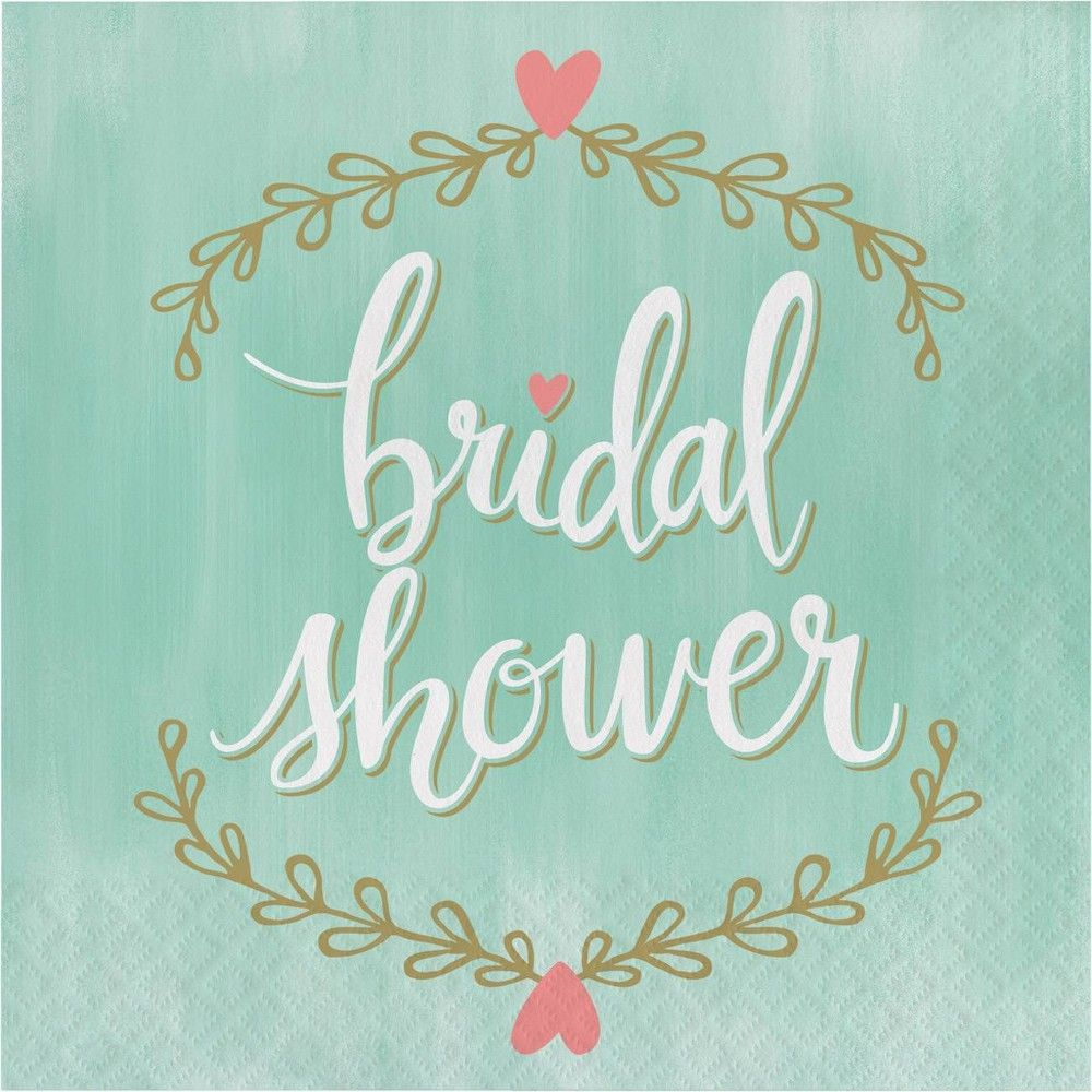 "48ct ""Bridal Shower"" Napkins Mint Green"