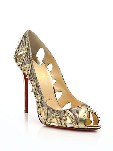 021f6cc193d CHRISTIAN LOUBOUTIN Pinder City Spiked Cutout Red Sole Pump, Gold ...