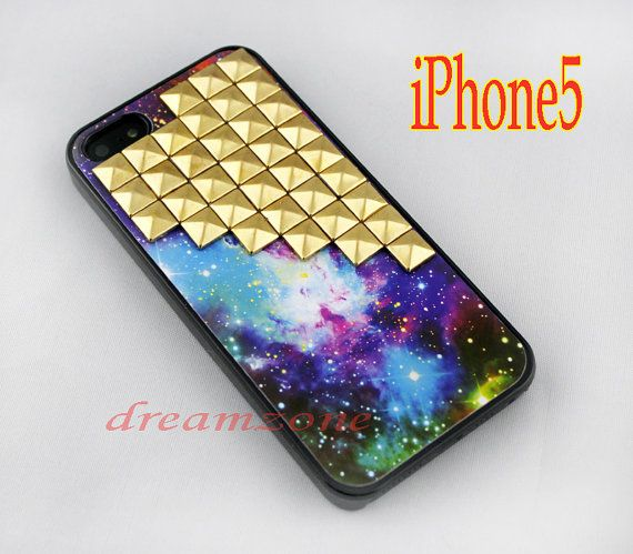 Golden studded iPhone 5 case Gold pyramid studs by DreamZone, $13.99