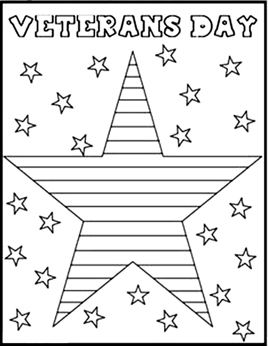 Stars Veterans Day Coloring Pages for Children | Educative Printable #veteransdaycrafts