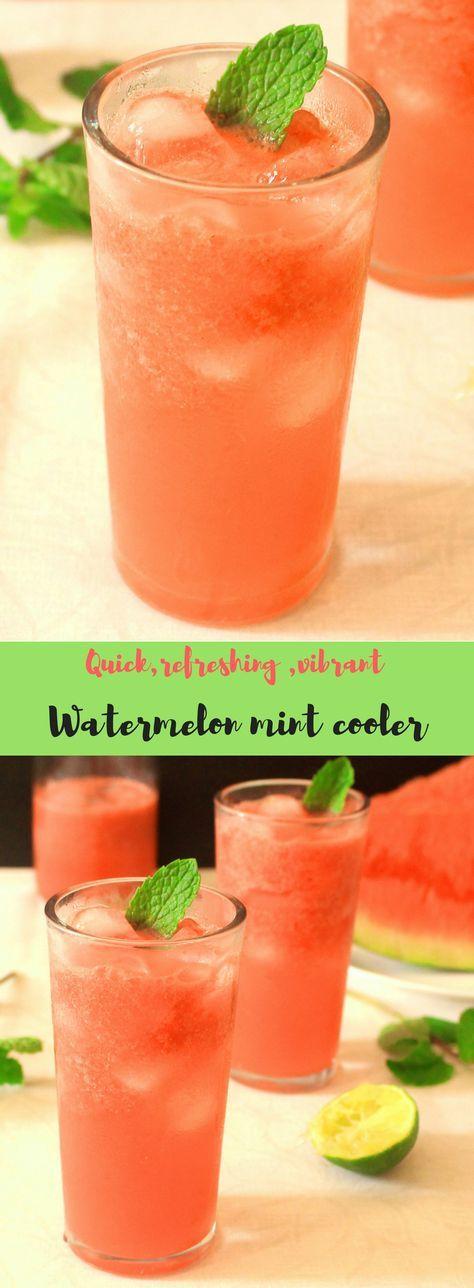 Watermelon mint cooler recipe #mintdrink