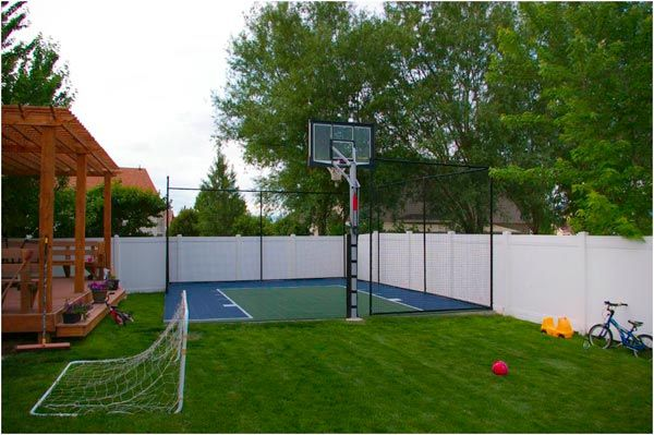 Home basketball courts usa google search outdoor space for Small basketball court