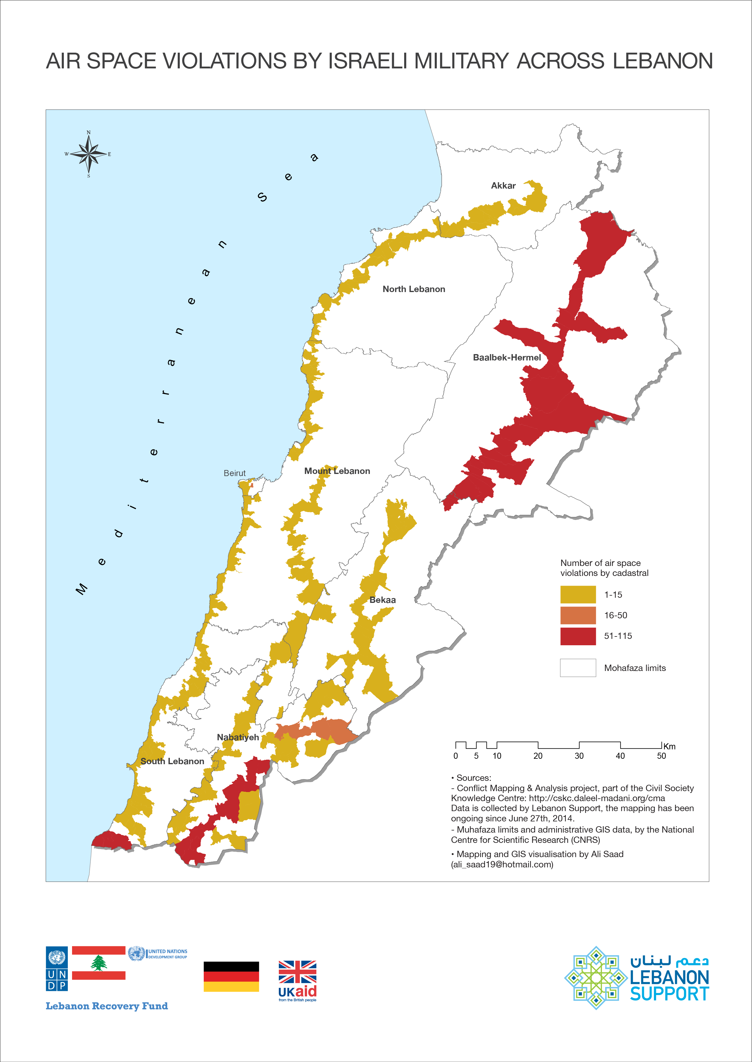 This Map Visualises The Instances Of Air Space Violations In Lebanon - Map violation