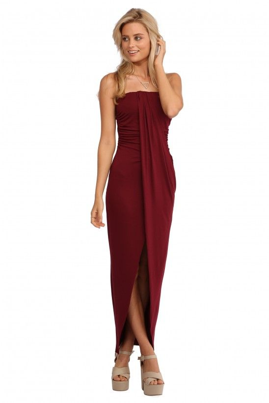 Waterfall High Low Maxi Dress in Burgundy   Necessary Clothing