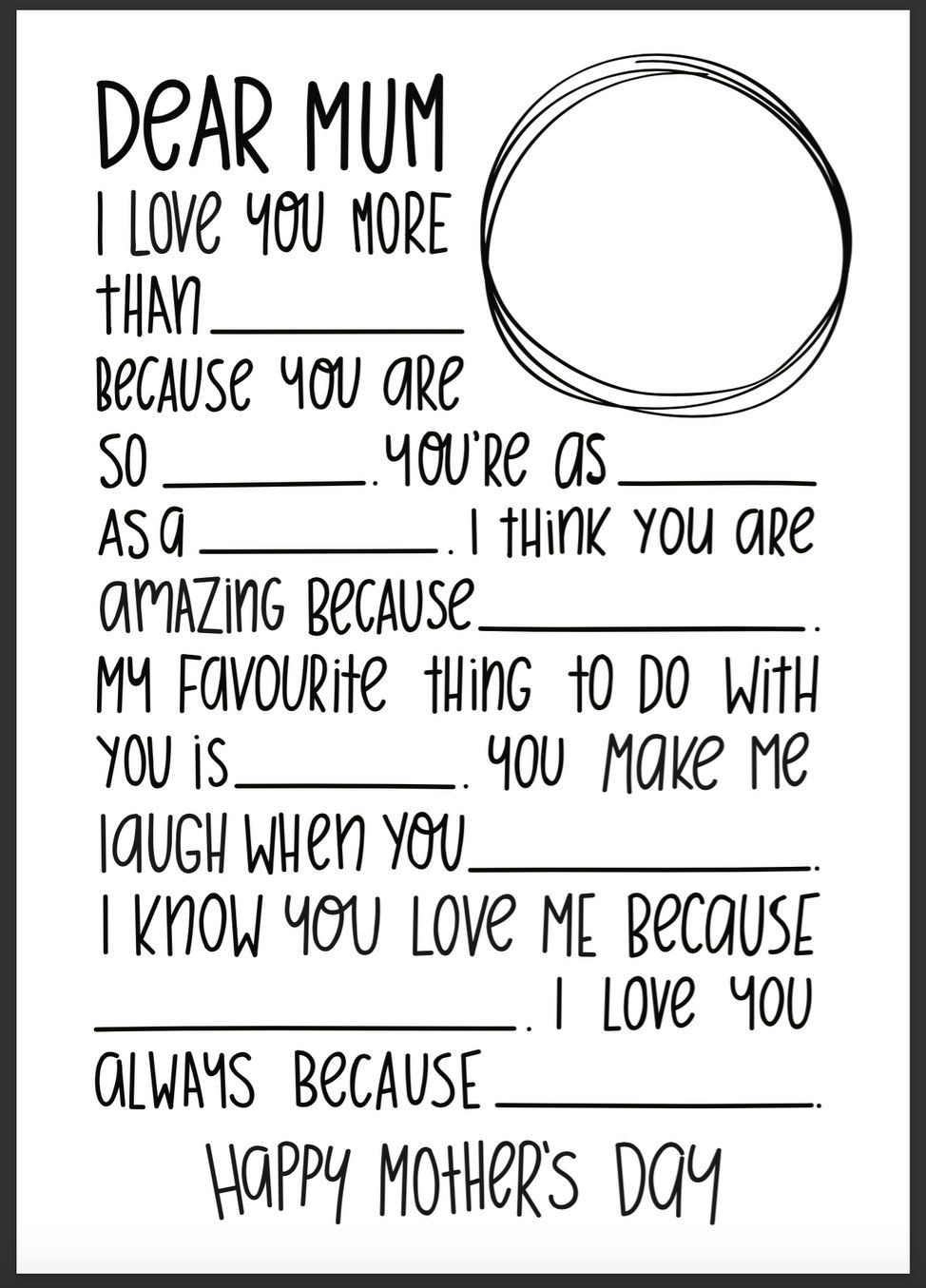 mother s day fill in the blank letter template school pinterest