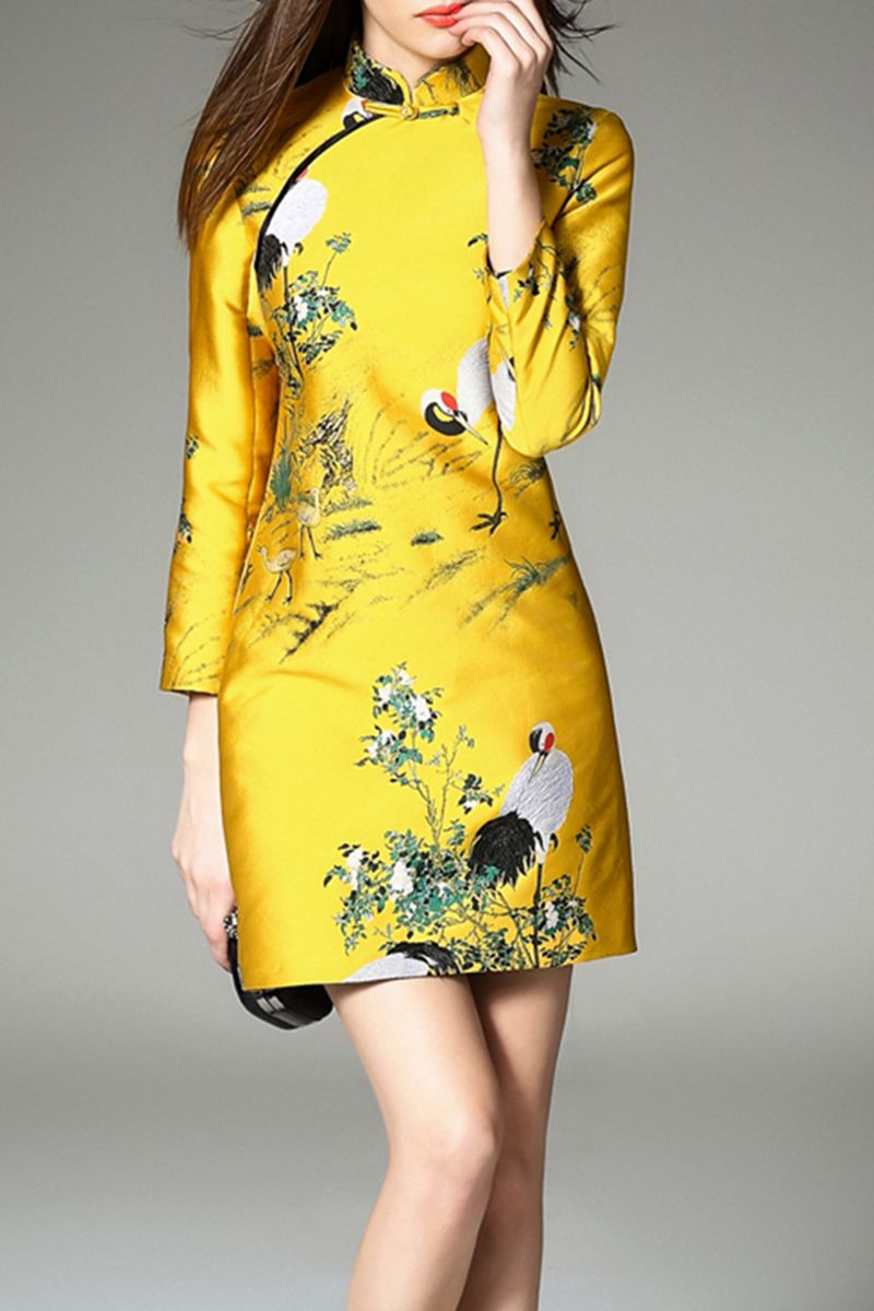K.y Yellow Stand Collar Crane Embroidered Dress | Mini Dresses at DEZZAL