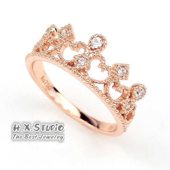 Diamonds Tiara Wedding Band In Solid 18k Gold Lacy Filigree Etsy Unique Engagement Rings Rose Gold Vintage Engagement Rings Art Deco Colored Diamond Jewelry