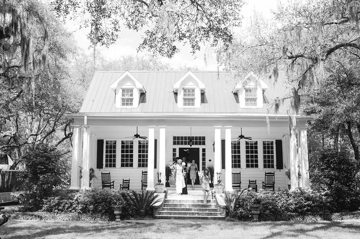 Guests exiting southern plantation white house http Southern charm house plans