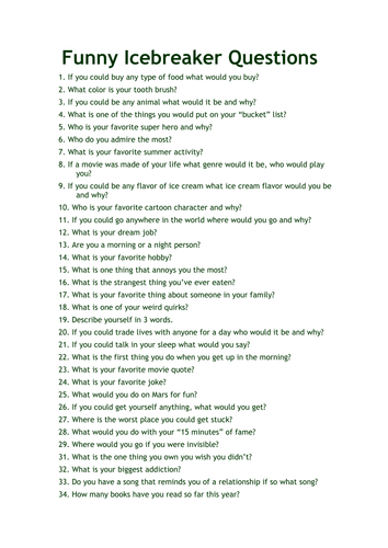 A list of questions for students to ask one another in the attempt to develop classroom relationships.