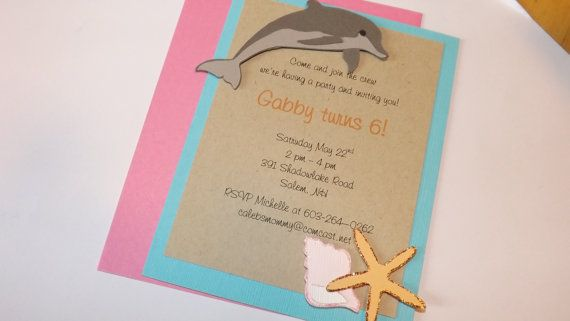 Beach theme dolphin starfish shell birthday by daffodilsndaisys